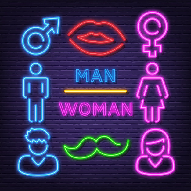 Man and woman neon icons Premium Vector