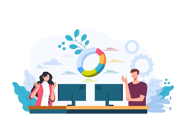 ビジネス財務分析統計の概念で働く男性女性サラリーマンチーム。ベクトルフラットグラフィックデザインイラスト Premiumベクター