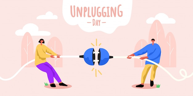 Man and woman in park playing tug of war with electric cord to disconnect plug from socket. Premium Vector