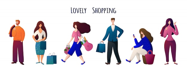 Man and woman, people with bags doing shopping Premium Vector