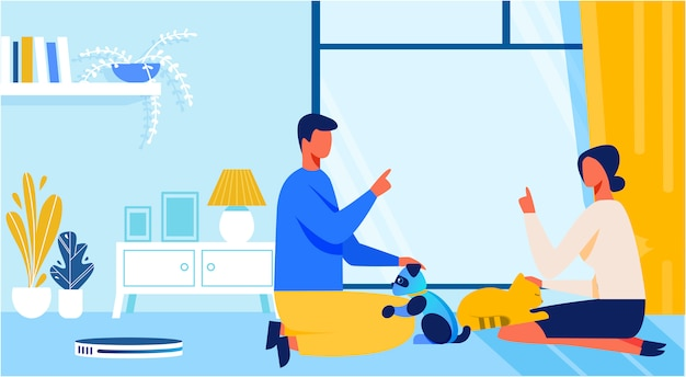Man and woman playing with alive or artificial cat Premium Vector