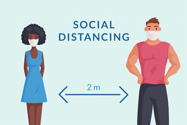 Man and woman in protective face masks keep social distance   cartoon illustration. Premium Vector