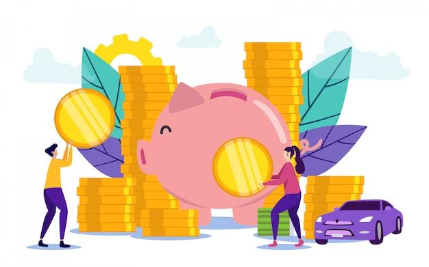 Man and woman put coins into piggy bank Premium Vector