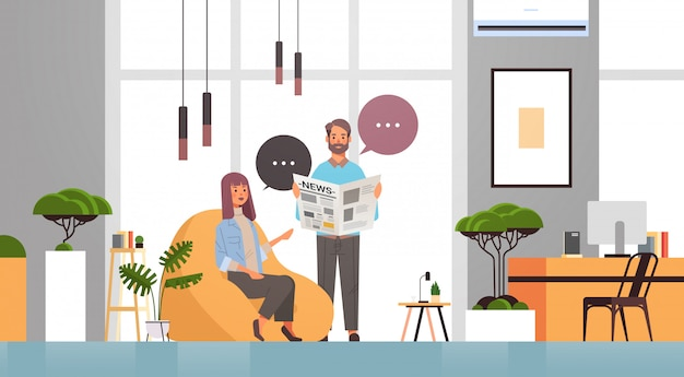 Man woman reading newspapers couple discussing news together chat bubble communication mass media concept Premium Vector