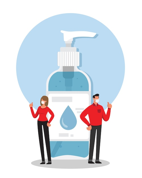 Man and woman recommending to use hands sanitizing gel Premium Vector