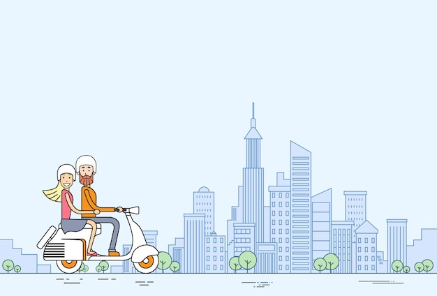 Man woman ride electrical scooter Premium Vector