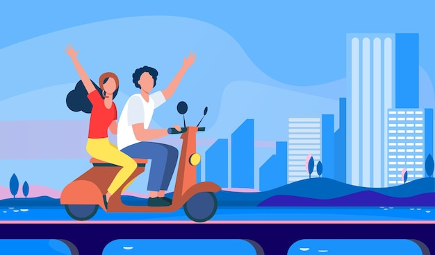 Man and woman riding bike in city. Free Vector