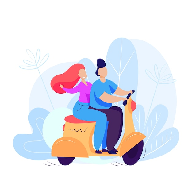 Man and woman riding scooter Free Vector