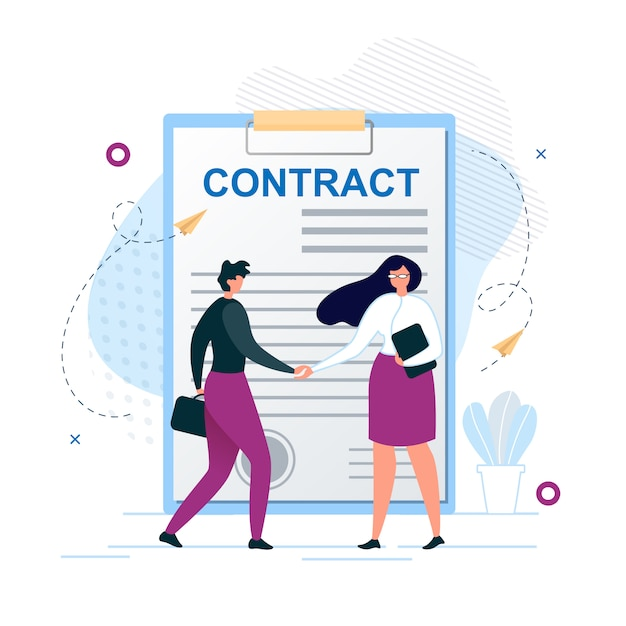 Man and woman shaking hands agree to sign contract Premium Vector