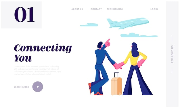 Man and woman stand in airport terminal waiting flight watching flying airplane through window. summer time vacation, honeymoon website landing page, web page. cartoon flat vector illustration Premium Vector