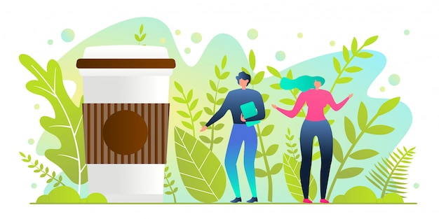 Man and woman stand near huge cup with hot drink Premium Vector
