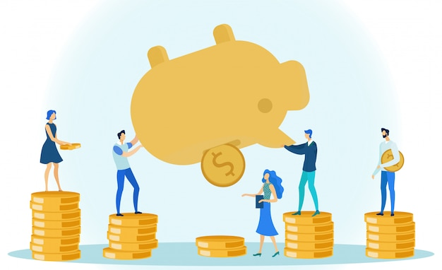 Man and woman taking money coins out piggy bank. Premium Vector