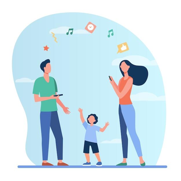Uomo e donna che parlano tra loro tramite telefono, bambino vicino ai genitori. Vettore gratuito