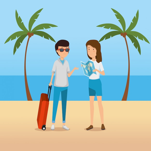 Man and woman tourist with global map in the beach Free Vector