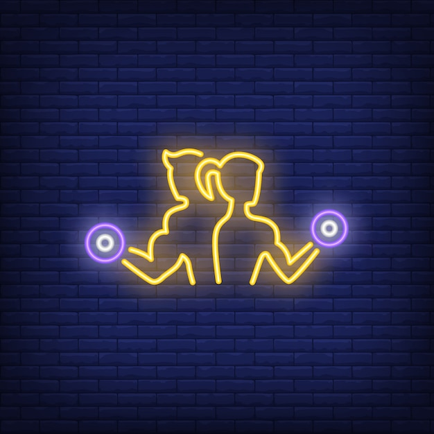 Man and woman training with dumbbells neon sign Free Vector
