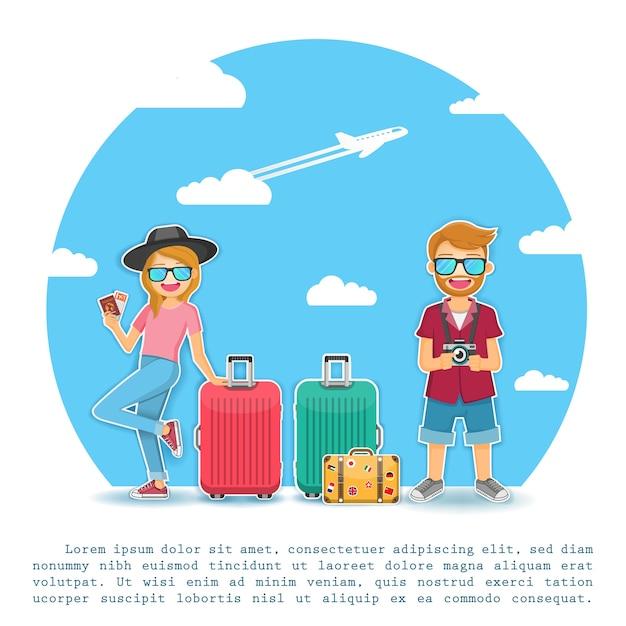 Man and woman traveler travel around the world concept. Premium Vector