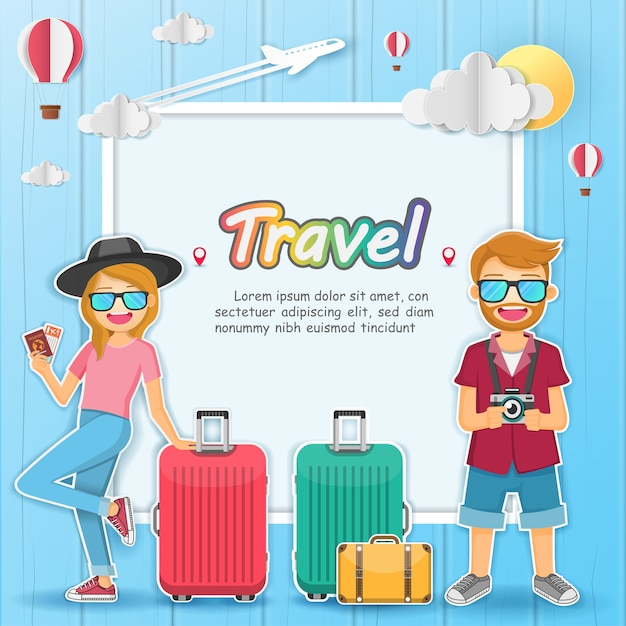 Man and woman traveler with luggage background. Premium Vector