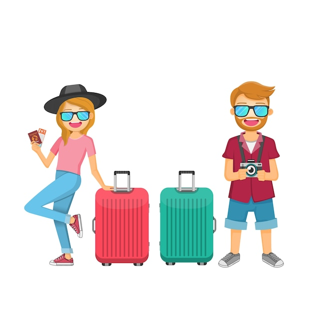 Man and woman traveler with luggage Premium Vector