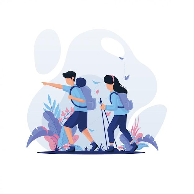 Man and woman trekking Premium Vector