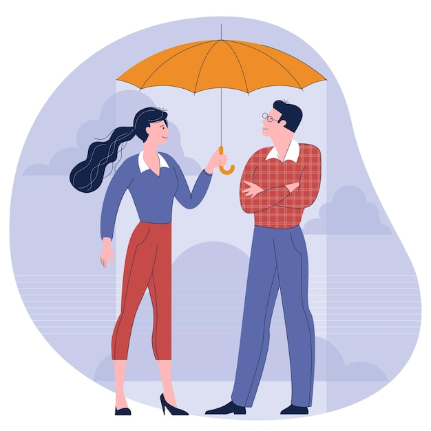 Man and woman under an umbrella flat design concept illustration Premium Vector