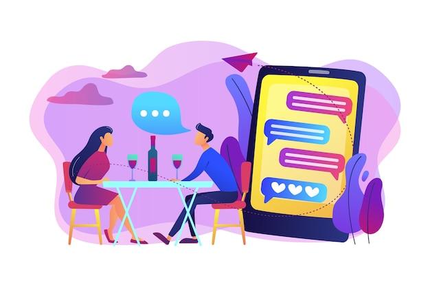 Uomo e donna che utilizzano l'app di appuntamenti online su smartphone e si incontrano a tavola, persone minuscole. appuntamento al buio, speed dating, concetto di servizio di dating online. Vettore gratuito