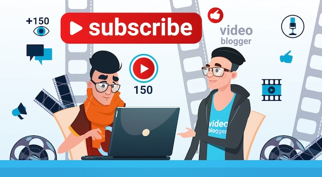 Man and woman video blogger online stream blogging subscribe concept Premium Vector