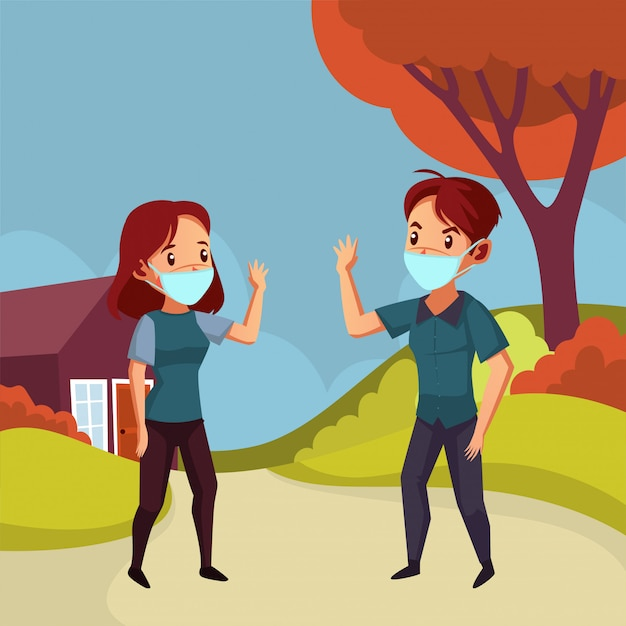 Man and woman wear mask try not to do handshake to avoid Premium Vector