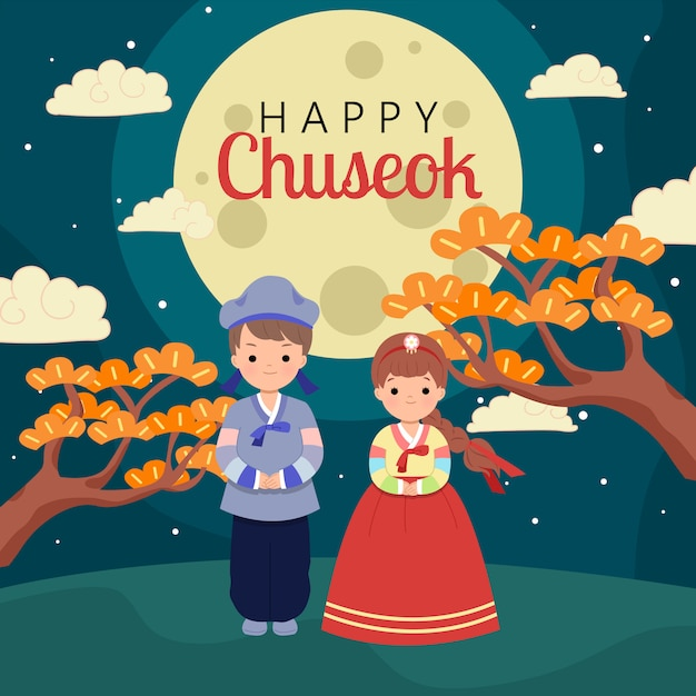 Man and woman wearing hanbok korean traditional clothes on full moon night to celebrating chuseok festival. flat design greeting card. Premium Vector