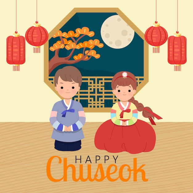 Man and woman wearing hanbok korean traditional clothes sitting in a room decorated with lantern on full moon night. happy chuseok festival celebration. korean thanksgiving day. flat vector. Premium Vector