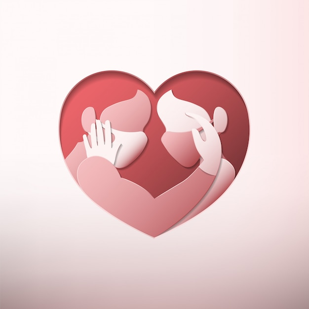Man and woman wearing medical face masks and rubber gloves inside heart shaped frame in paper art style Premium Vector