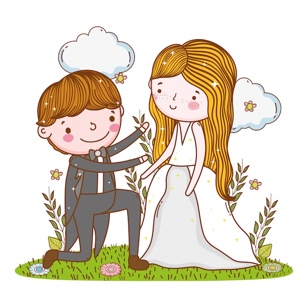 Man and woman wedding with clouds and plants Premium Vector