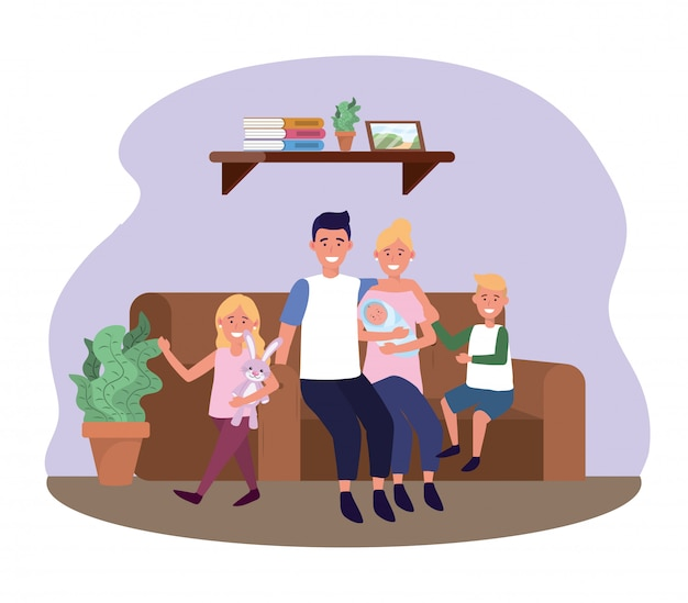 Man and woman with daughter and sons in the sofa Free Vector