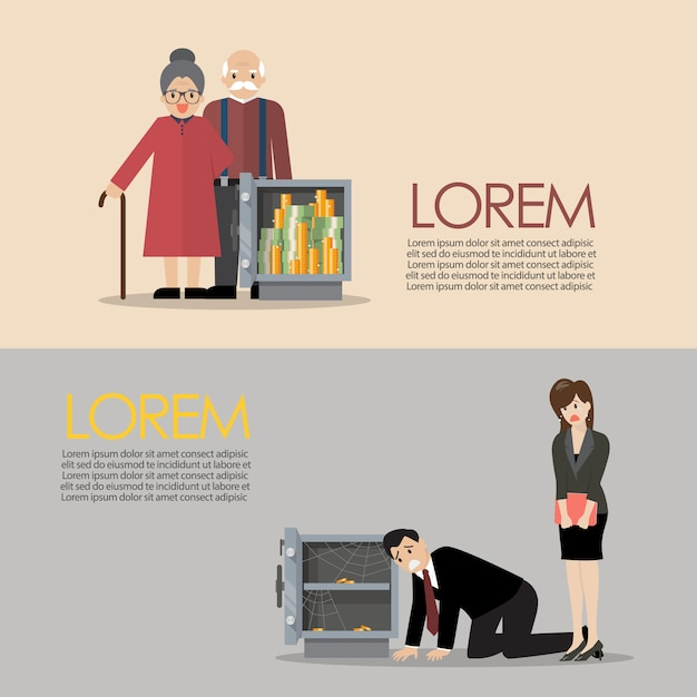 Man and woman with safe business finance concept Premium Vector