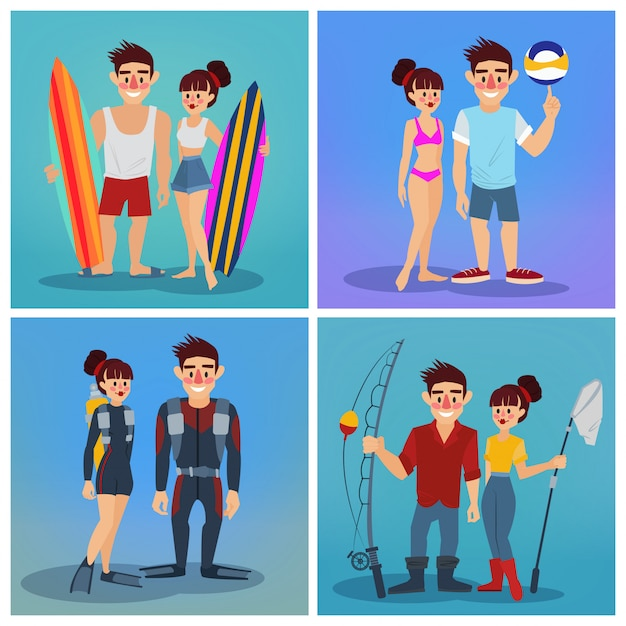 Man and woman with surf. volleyball man Premium Vector