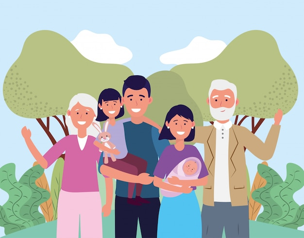Man and woman with their baby and daughter and parents Premium Vector