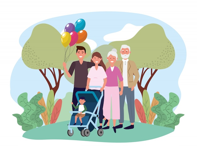 Man and woman with their cute son and parents Premium Vector