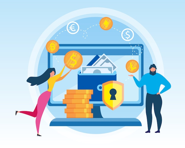 Man and woman with virtual wallet. Premium Vector