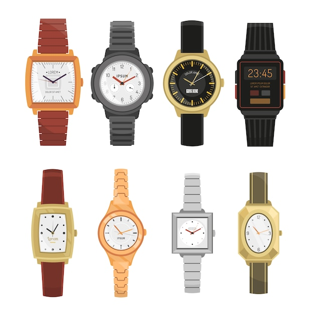 Man and woman wrist watches set Free Vector