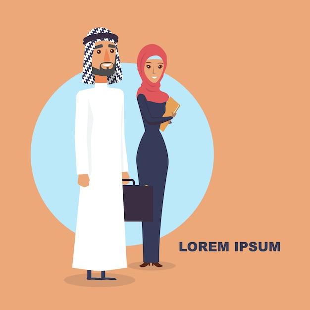 Man and women arabic people. Premium Vector