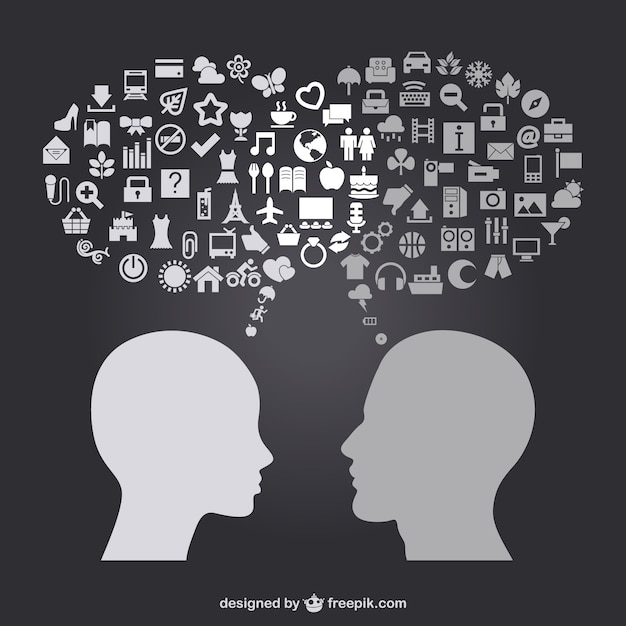 Man and women head thinking in daily life icons Free Vector