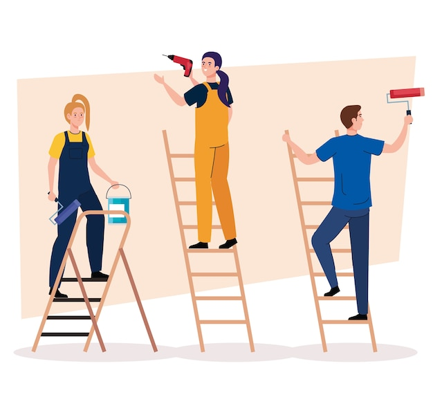 Man and women with construction drill paint roll and bucket on ladders design of remodeling working and repairing theme Premium Vector