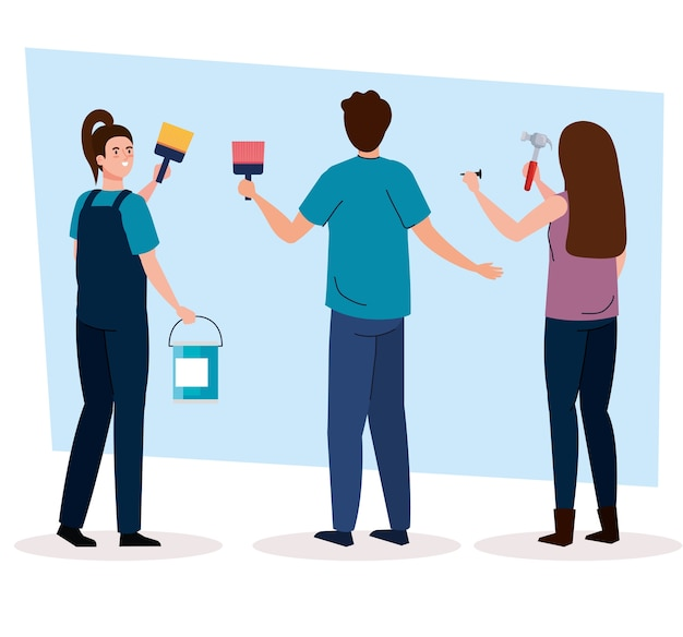 Man and women with construction hammer and paint brush and bucket design of remodeling working and repairing theme Premium Vector
