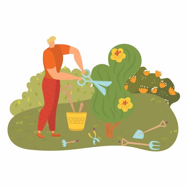 Человек работает возле дерева, люди занимаются садоводством, молодой садовник, срезать зелень, карикатура иллюстрации. инструменты счастливого рабочего, улица ножницы обрезки, кусты, активная деятельность. Premium векторы