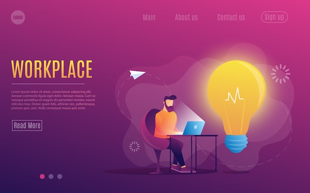 A man at work. working at a laptop. flat colorful style.workplace. web page template. Premium Vector