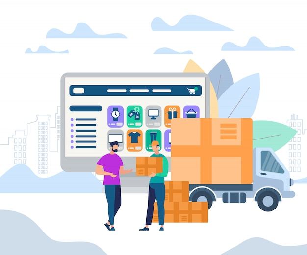 Man worker giving parcel box to young recipient Premium Vector