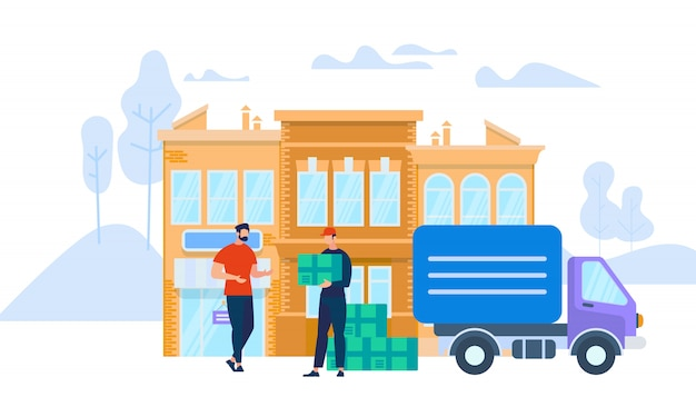 Man worker in uniform giving box to young man Premium Vector