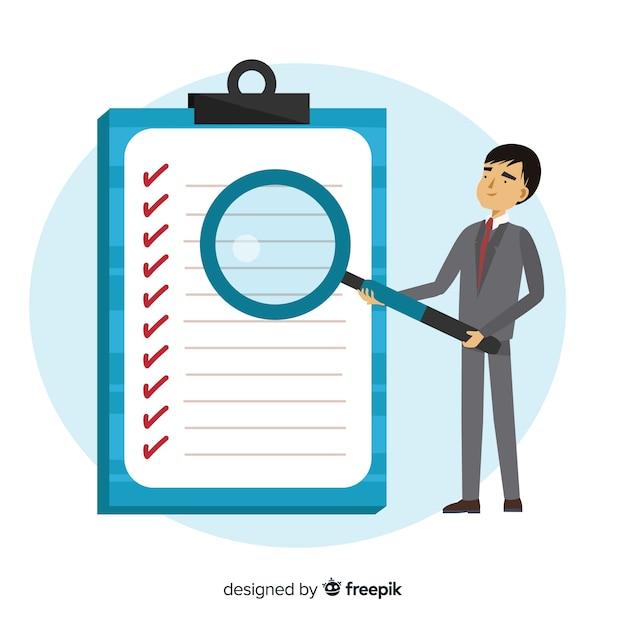 Man working on checklist background Free Vector