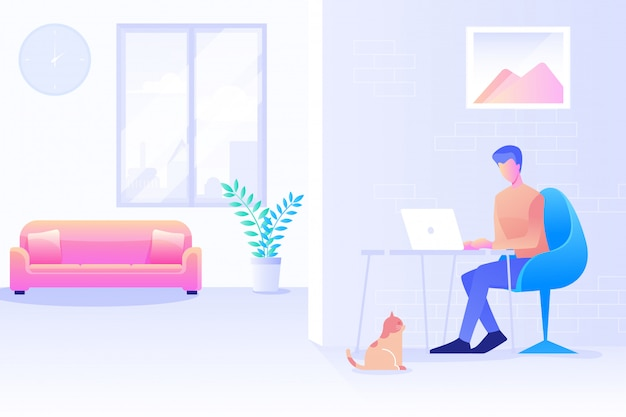 A man working from home, home office, a man using computer, coworking space, a freelancer working at home background flat vector design. Premium Vector