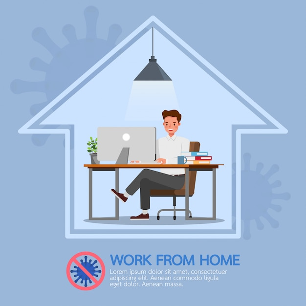 Man working from home, stop coronavirus, social distancing concept character   design Premium Vector