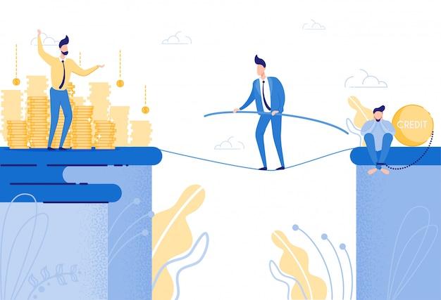 懸命に働き、最善を尽くして、信用負債を返済しようとする男 Premiumベクター
